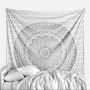 Black and white mandala tapestry